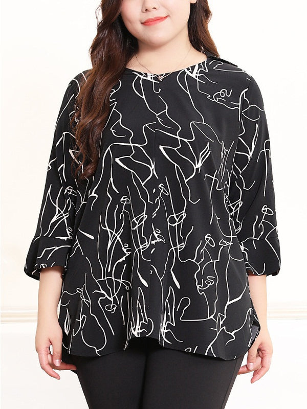 Serene Scribbles Art Mid Sleeve Blouse (EXTRA BIG SIZE)
