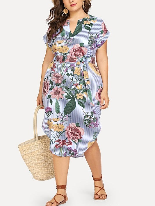 Tasanee Plus Size V Neck Waist Tie Curved Side Dress (Suitable For Chinese New Year) (EXTRA BIG SIZE) (Blue Stripe Floral, Vertical Aztec Print)