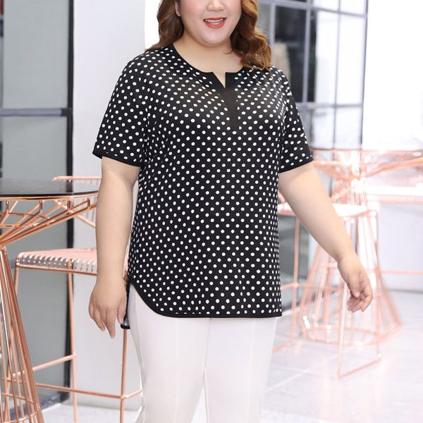 Plus Size Polka Dots V Neck Short Sleeve Blouse (EXTRA BIG SIZE)
