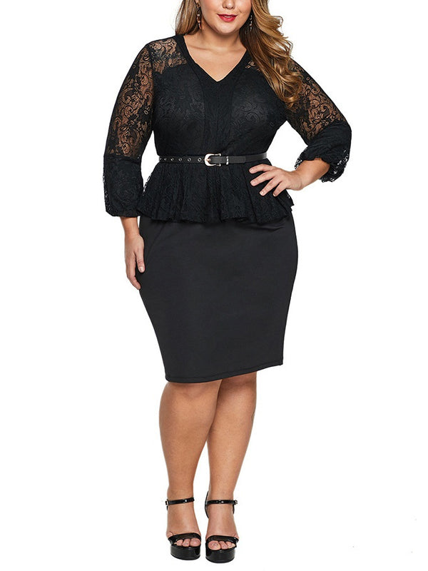 Sonya Plus Size Dinner Work Office Occasion Wedding Evening Dress Sexy Fitting Peplum Lace Bodycon Mid Sleeve Dress (Blue, Black) (EXTRA BIG SIZE)