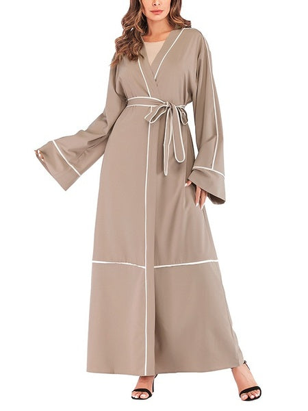 Morgane Colourblock Piping Maxi Jacket