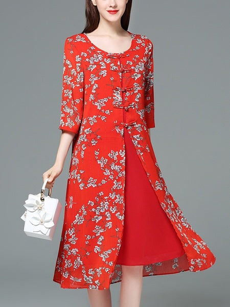 Janaye Mother of the Bride Red Cheongsam Oriental Floral Print Wedding Midi Dress