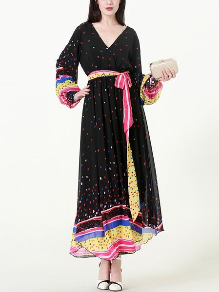 (XL-7XL) Kika Rainbow Dots Maxi Dress