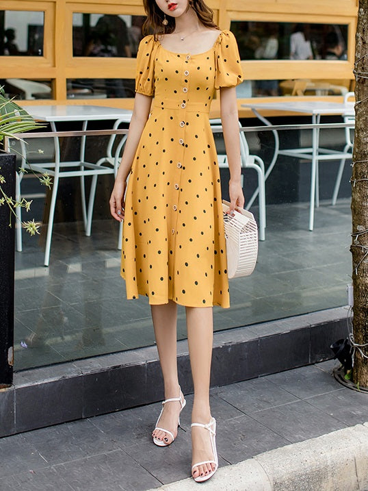 Riese Puff Sleeve Polka Dots Button S/S Midi Dress (Blue, Yellow)