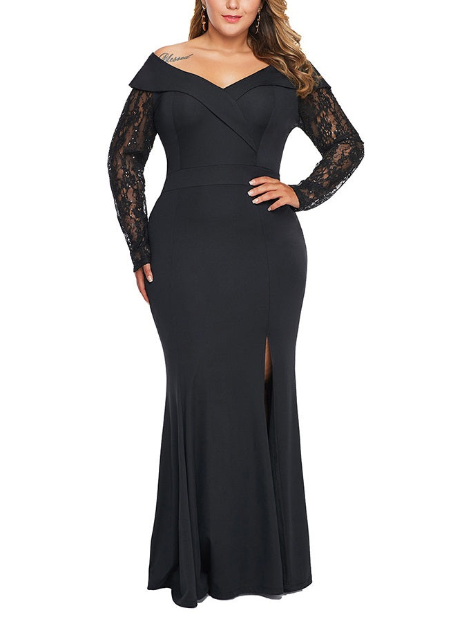 Sookie Plus Size Dinner Occasion Evening Evening Dress Gown Simple V Neck Wide Shoulder With Sleeve Lace Sleeve Side Slit Long Sleeve Maxi Dress (EXTRA BIG SIZE)