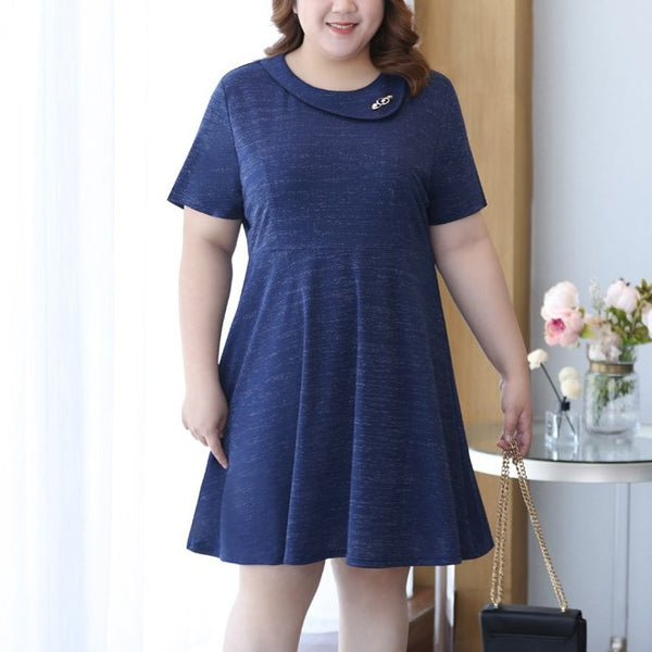 Plus Size Blue Charm Work Short Sleeve Dress (EXTRA BIG SIZE)