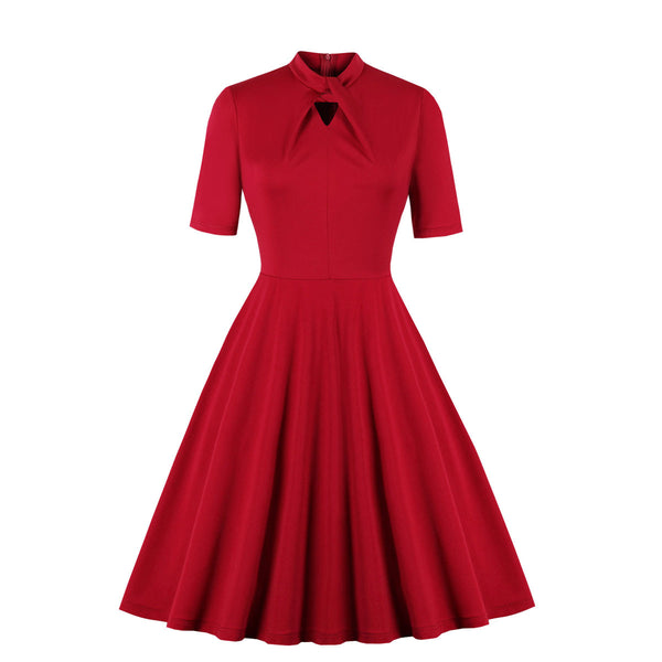 Plus Size Vintage Red Swing Short Sleeve Dress