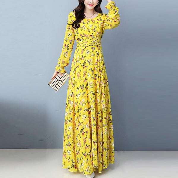 Plus Size Chiffon Floral Print Long Sleeve Maxi Dress