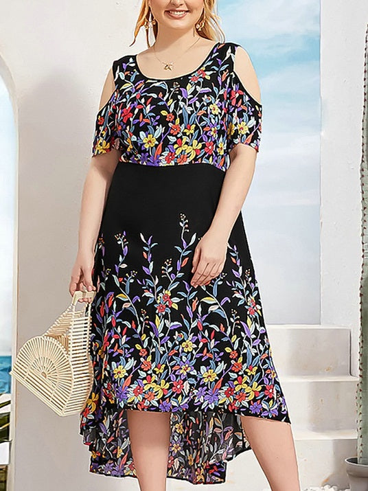 Tammin Plus Size Off Shoulder Floral Print Longer Back Short Sleeve Midi Dress (Suitable For Chinese New Year And Weekends) (EXTRA BIG SIZE) (Black)