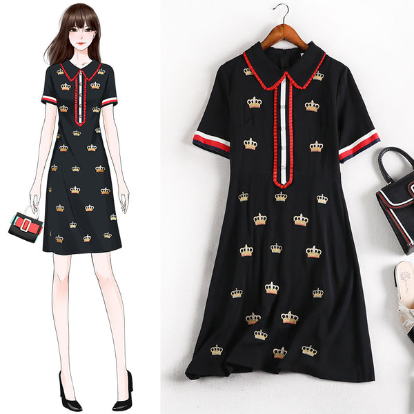 Reid Crown Embroidery Pleat S/S Polo Tee Shirt Dress