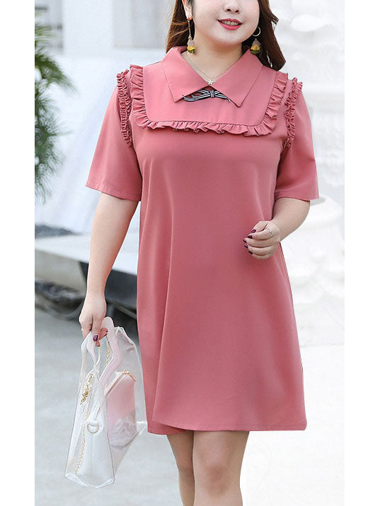Tashanay Plus Size Frill Ribbon Short Sleeve Shirt Dress (Suitable For Chinese New Year) (EXTRA BIG SIZE)