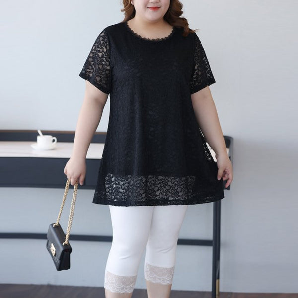 Plus Size Black Lace Short Sleeve Blouse (EXTRA BIG SIZE)
