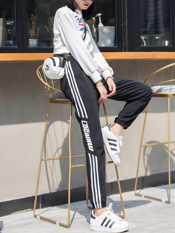 Snowelle Waistband Tie Stripes Word Track Pants (EXTRA BIG SIZE)