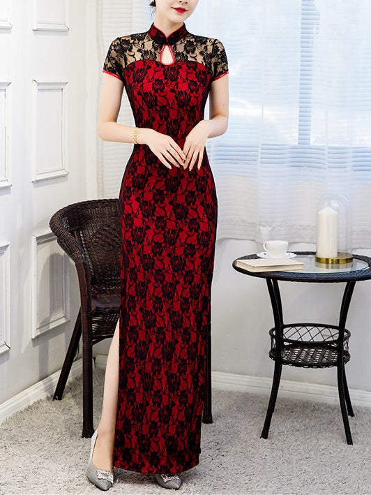 Tawney Plus Size Cheongsam Qipao Lace High Slit Short Sleeve Maxi Dress Gown (Suitable For Chinese New Year, Weddings, Evening Wear, Red Carpet, Company Function)