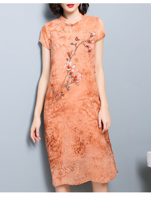 Floral Qipao S/S Dress (Grey, Orange)