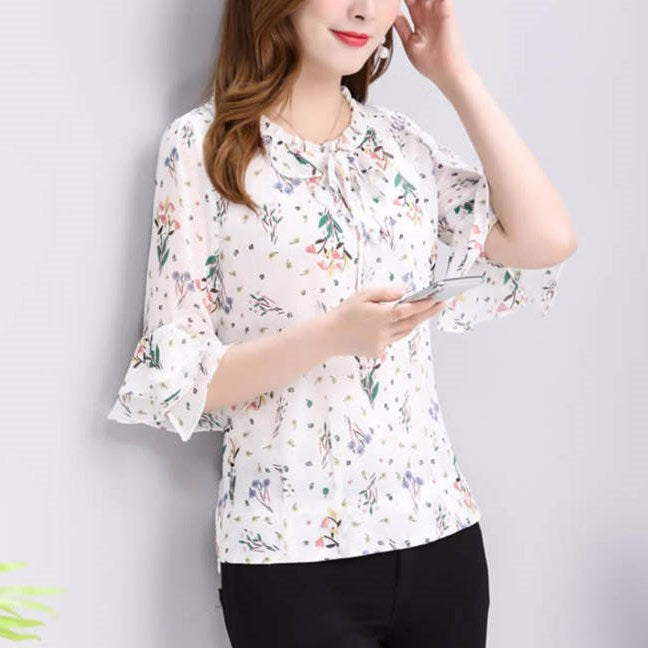 Plus Size Floral Print Summer 3/4 / Long Sleeve Blouse