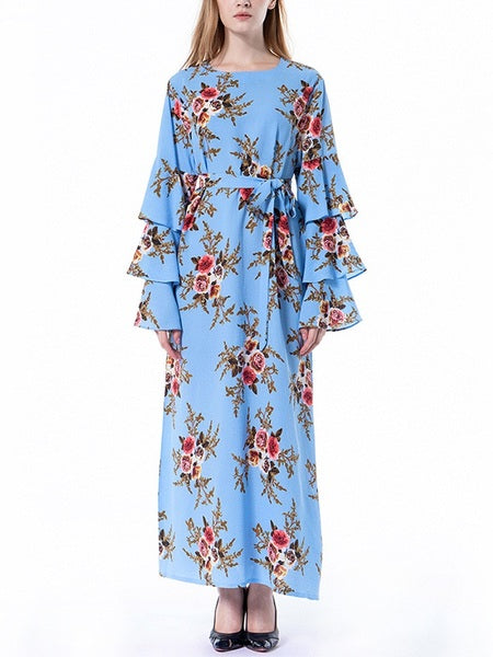 Morgause Floral Tier Bell Sleeve Maxi Dress