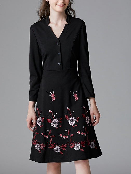 Sholeh V Neck Buttons Floral Embroidery L/S Dress