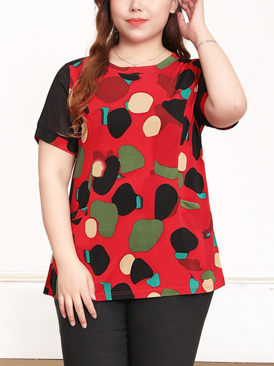 Renae Red Art Print S/S Blouse (EXTRA BIG SIZE)