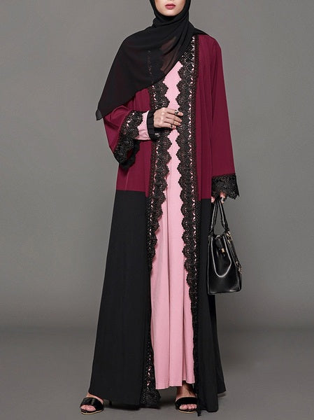 Morgayne Red and Black Colourblock Lace Trim Maxi Jacket