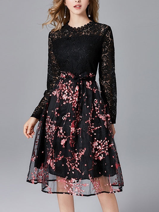 Maeve Cherryblossoms Lace Flounce Occasion Wedding Dinner Long Sleeve Midi Dress