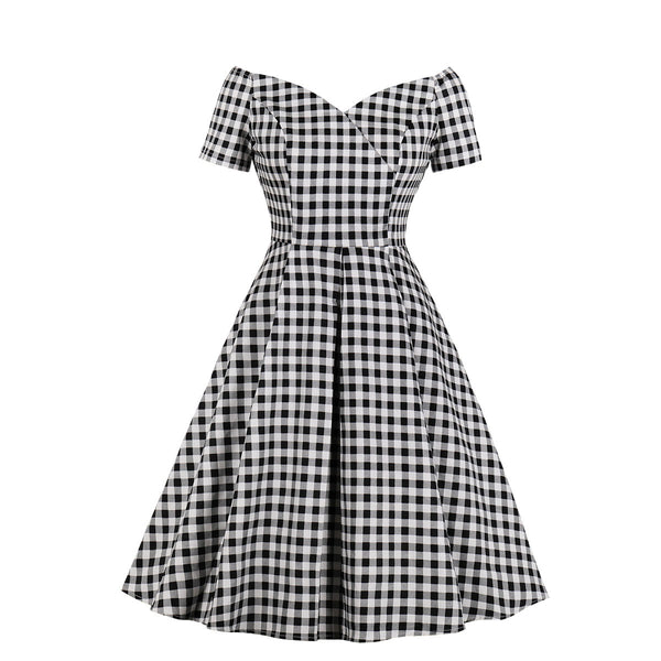 Plus Size Gingham Check Vintage Short Sleeve Midi Dress