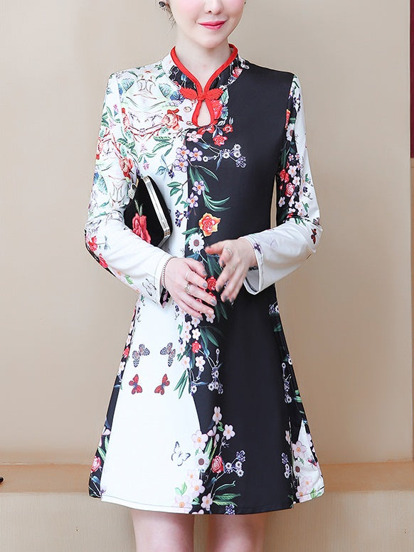 Towanda Plus Size Modern Floral Print Cheongsam Qipao Long Sleeve Dress (Black)