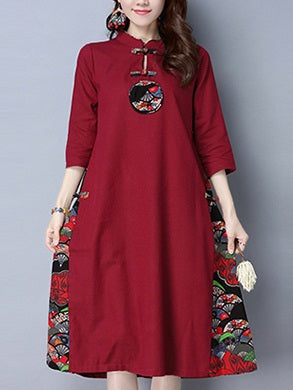 Taynee Plus Size Cotton Linen Oriental Print Mid Sleeve Midi Dress (Red, Green, Blue)