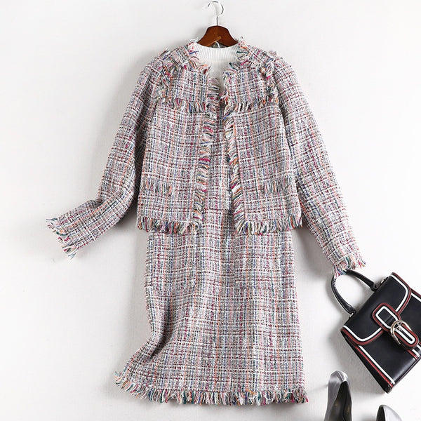 Styliani Plus Size Pink Tweed Autumn Jacket and Sleeveless Dress Set