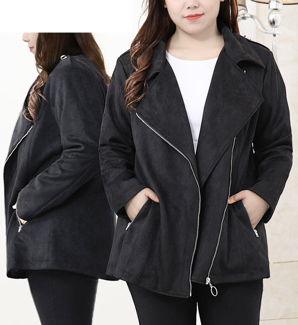 Siv Moto Suede Lapel Zipper Biker Winter Autumn Jacket Coat