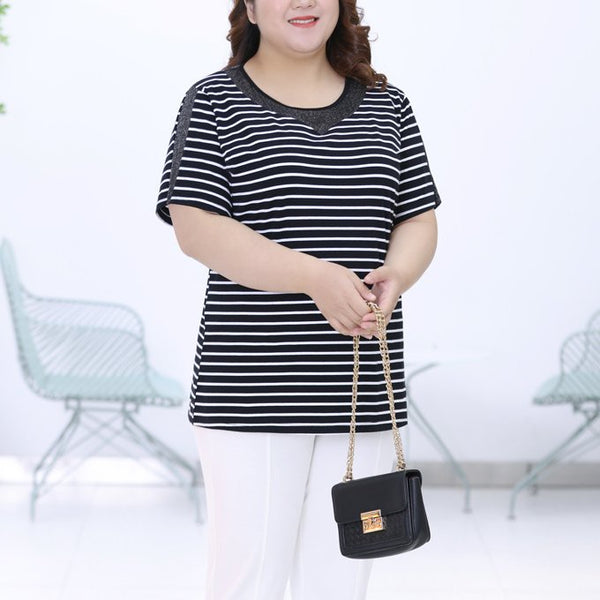 Plus Size Shimmer Mesh Stripes Short Sleeve Blouse (EXTRA BIG SIZE)