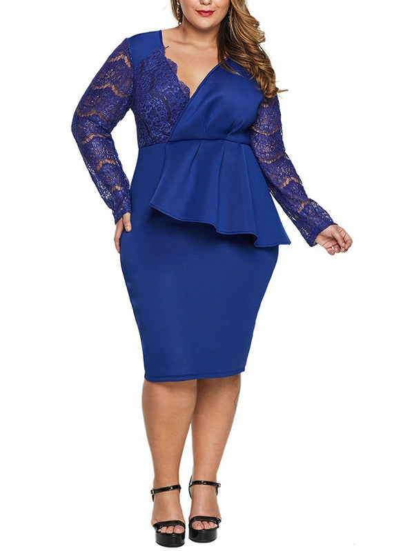 Sopheia Plus Size Dinner Occasion Prom Wedding Evening Dress Peplum Bodycon Eyelash Lace Sexy V Neck Back Slit Slimming With Sleeve Long Sleeve Dress (Blue, Black)