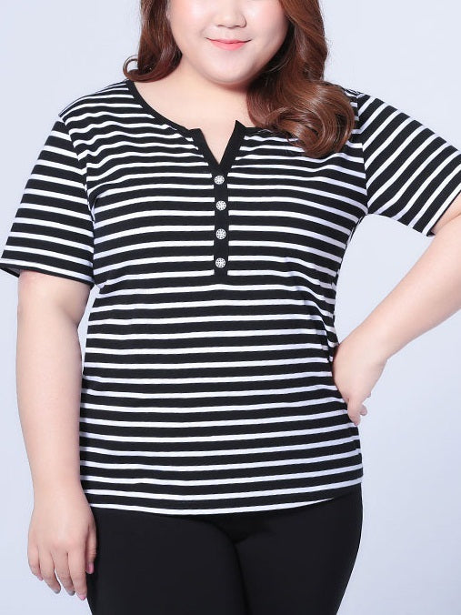 Nilla V-Neck Cotton Stripe Button Tee