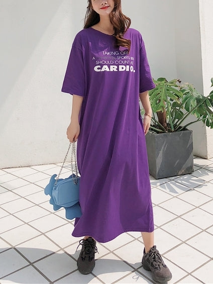 Cardio Back Slit Midi Tee Dress