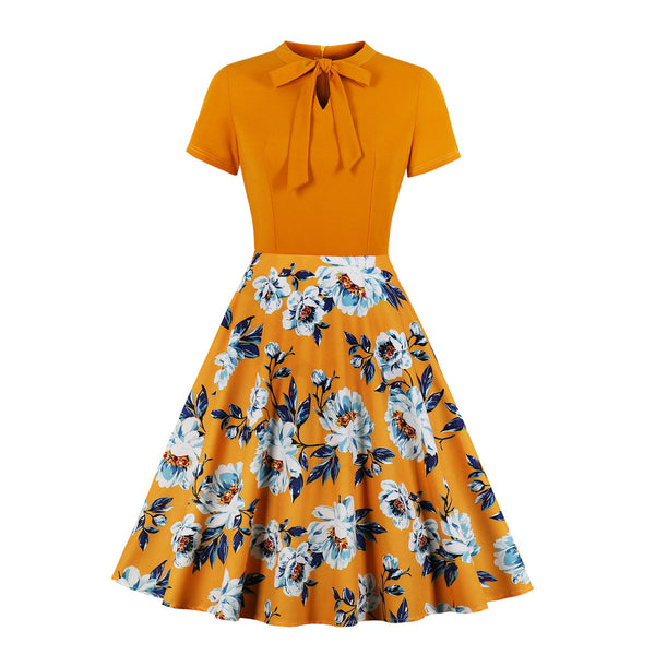 Plus Size Yellow Vintage Floral Swing Short Sleeve Dress