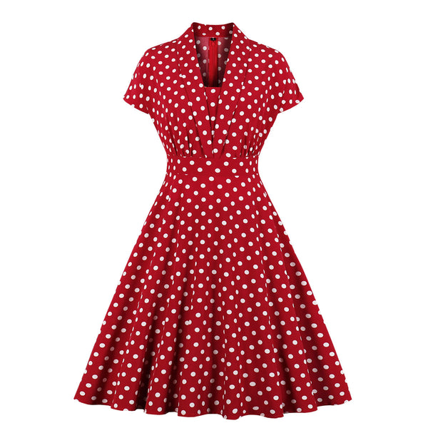 Plus Size Red Polka Dots Vintage Swing Short Sleeve Dress