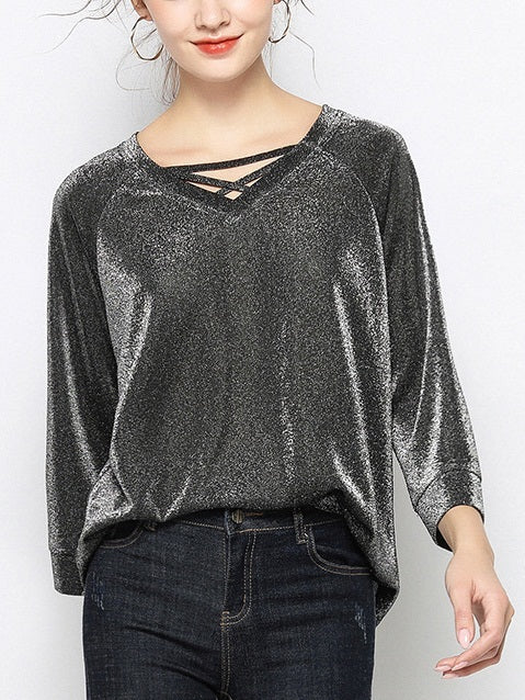 Veruca Plus Size Silver Sheen Criss Cross Loose Mid Sleeve Blouse