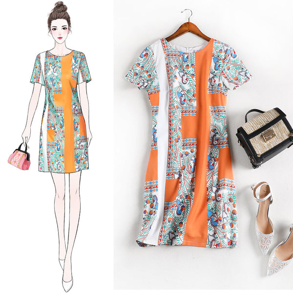 Reighlynn Birds and Orange Shapes S/S Shift Dress