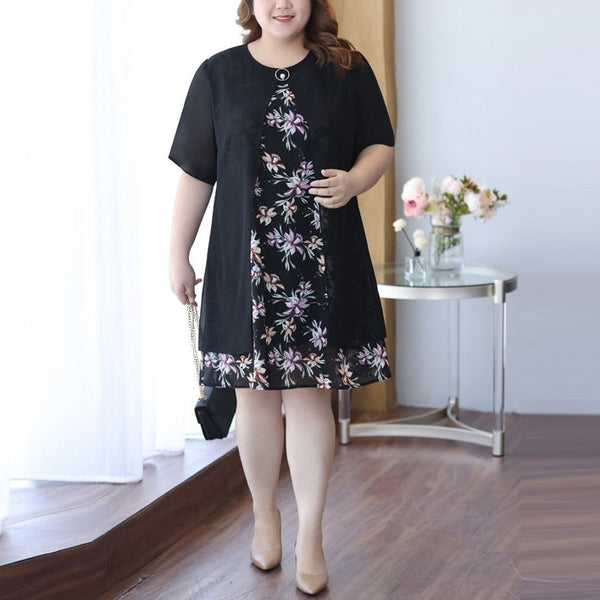 Plus Size Floral Chiffon Layer Short Sleeve Dress (EXTRA BIG SIZE)