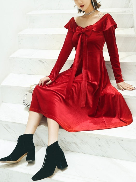 Mayan Velvet Bow Off Shoulder Midi Dress (Red)