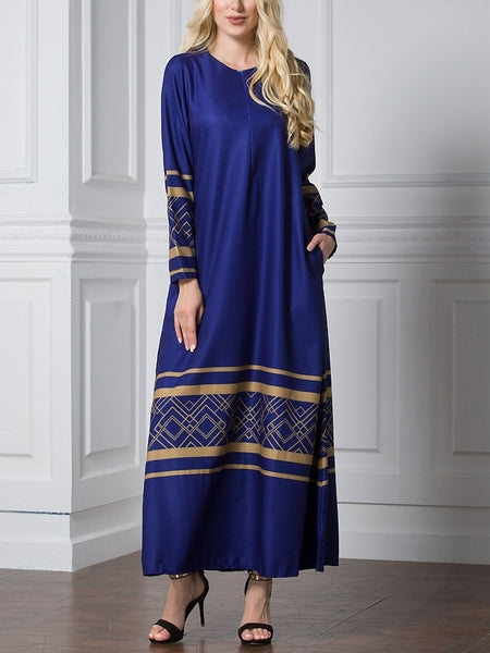 (XL-7XL) Gisel Gold Accent Maxi Dress (3 Colour)