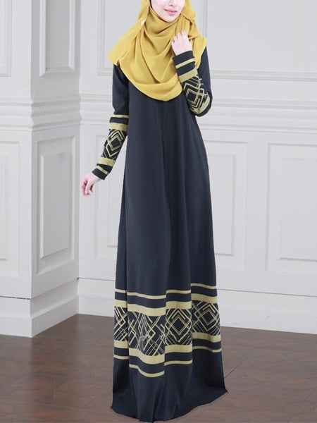 (XL-7XL) Gisel Gold Accent Maxi Dress
