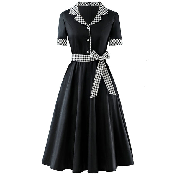 Plus Size Vintage Swing Checked Short Sleeve Midi Shirt Dress