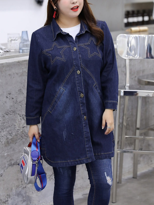 Socorro Star Long Length Tunic Denim Jacket (EXTRA BIG SIZE)