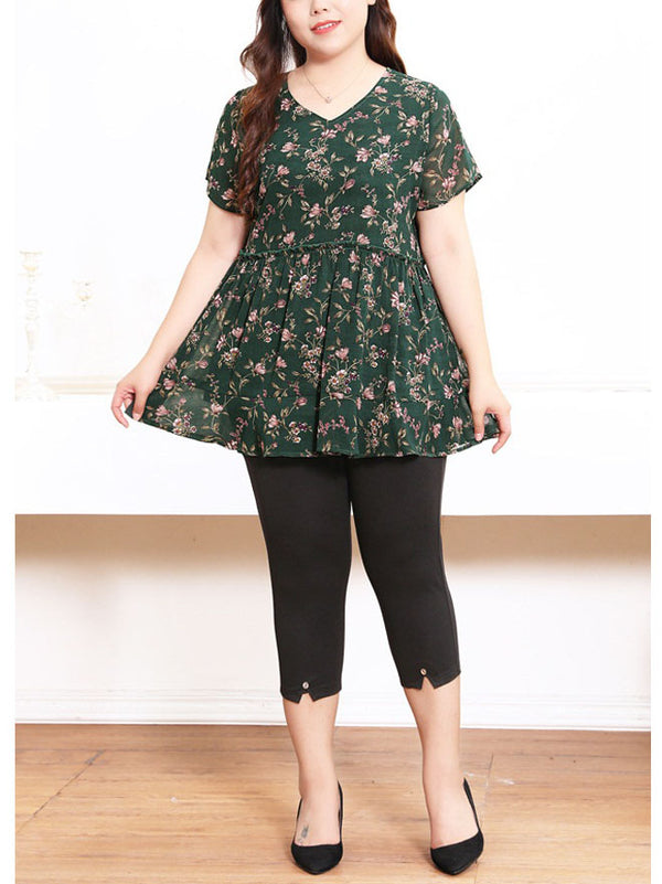 Serina V Neck Green Floral Print S/S Blouse (EXTRA BIG SIZE)