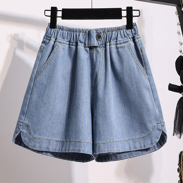 Karessa Plus Size Blue Denim Shorts