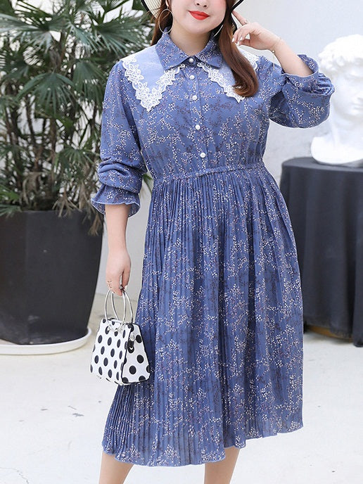 Taija Plus Size Vintage Floral Print Lace Collar Pleats Long Sleeve Midi Shirt Dress (Black, Blue)