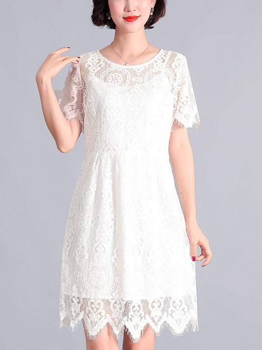 Raea Round Lace Scallop White S/S Dress