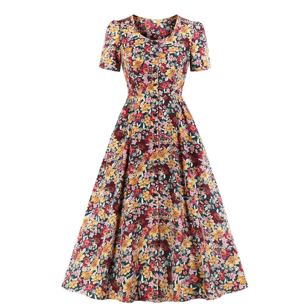 Plus Size Art Floral Swing Short Sleeve Midi Dress