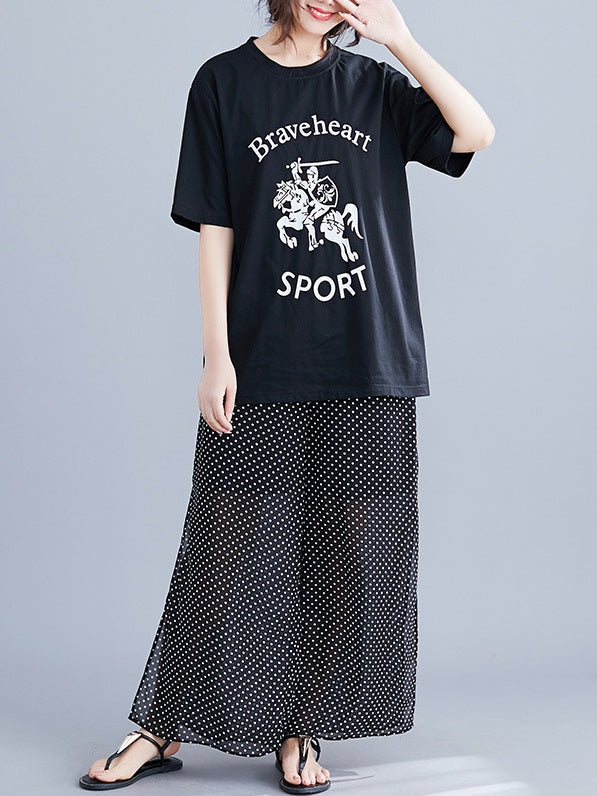Black S/S Tee Shirt Top and Polka Dots Slit Pants (EXTRA BIG SIZE)